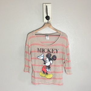 DISNEY • Mickey Mouse Striped Vintage T Shirt